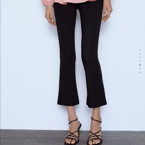 Zara small cropped flare ribbed stretch leggings